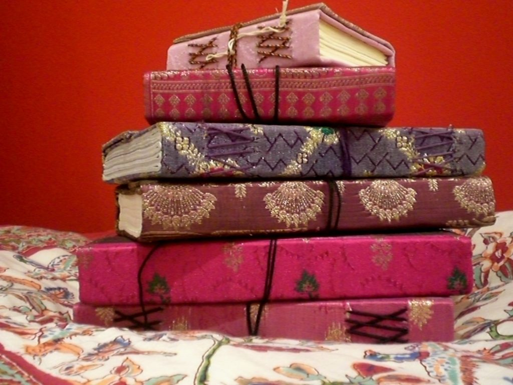 Hand-made sari /rice paper notebooks