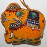 Hand-embroidered elephant dangler